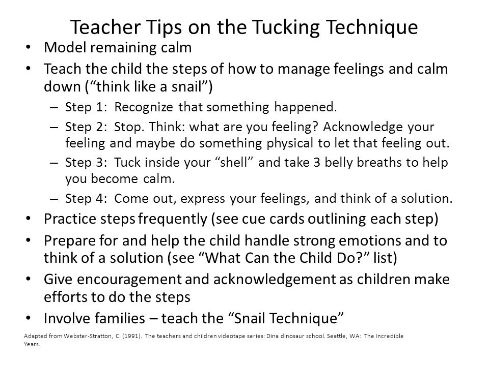 Teacher Tips on the Tucking Technique