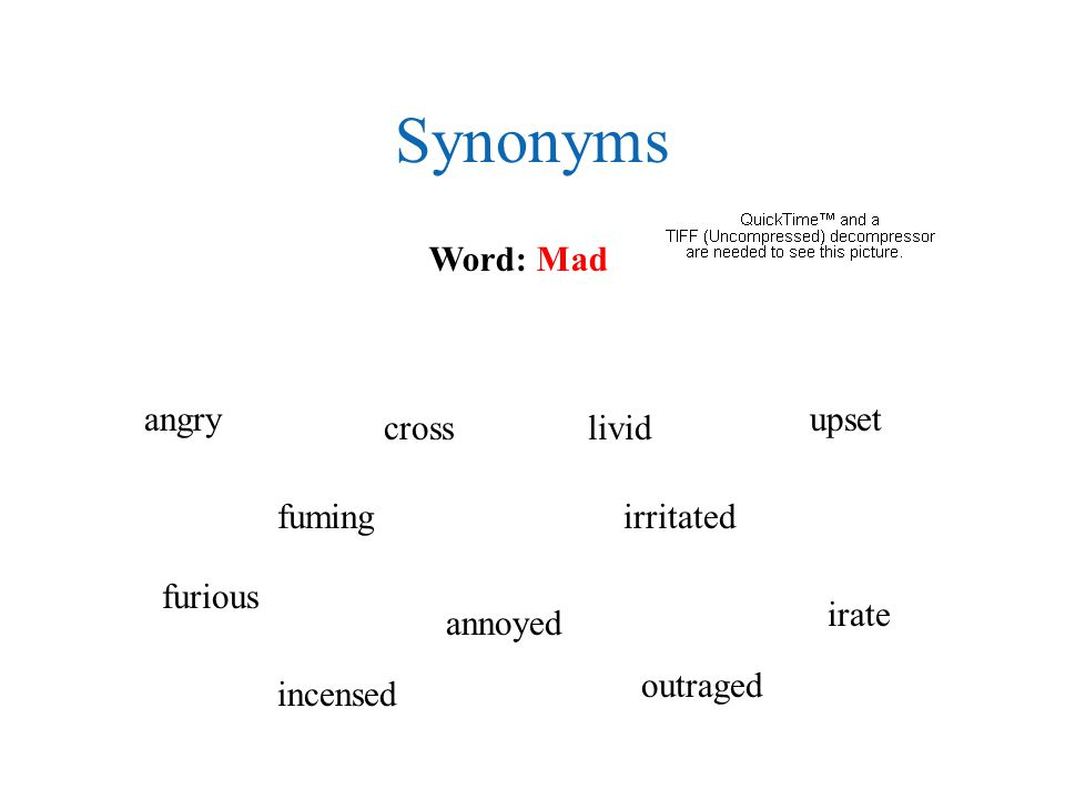 Synonyms Word: Mad angry furious livid annoyed irritated upset fuming