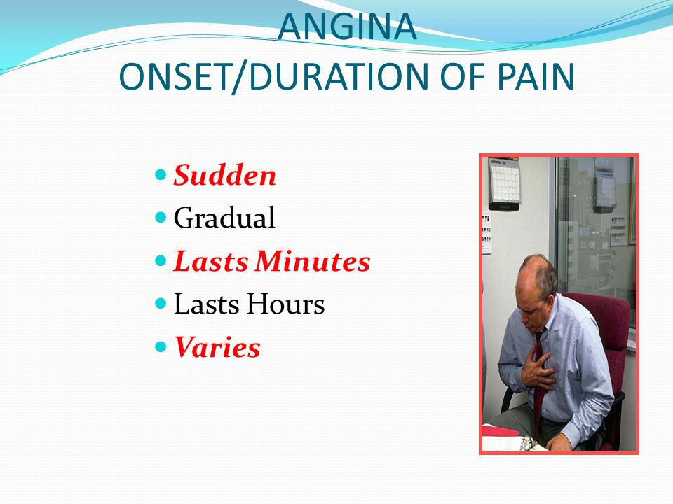 ANGINA ONSET/DURATION OF PAIN