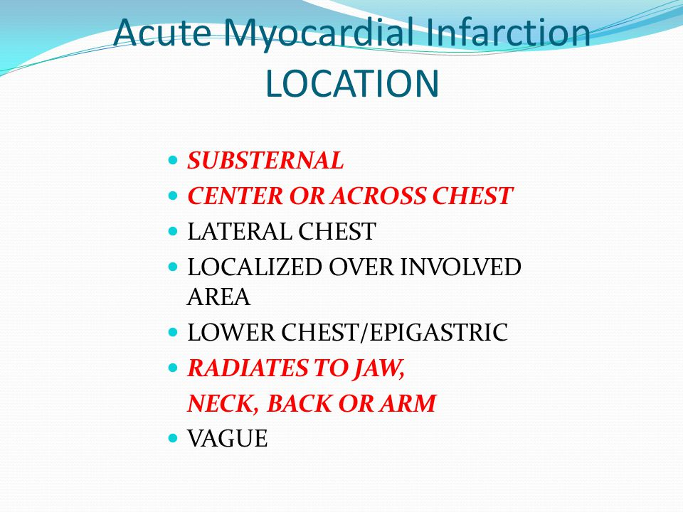 Acute Myocardial Infarction LOCATION