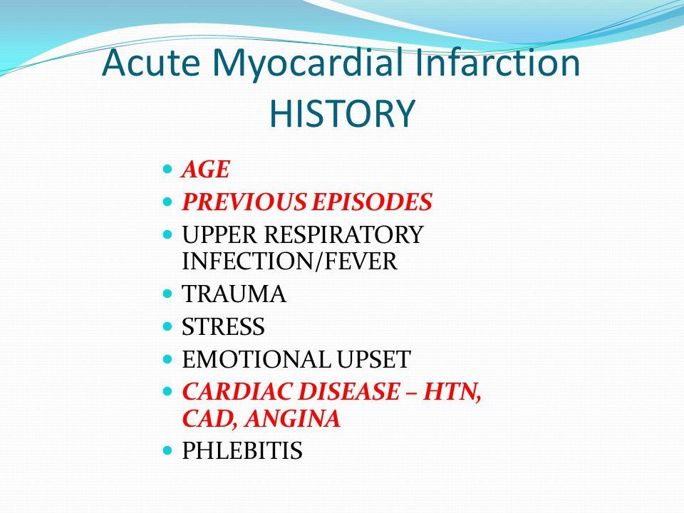 Acute Myocardial Infarction HISTORY