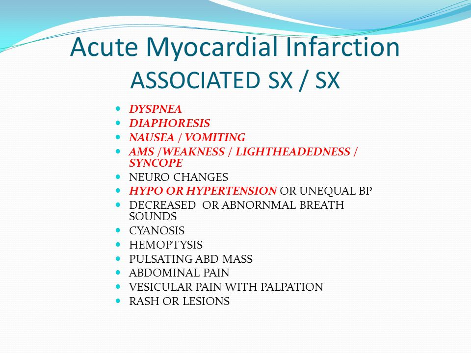 Acute Myocardial Infarction ASSOCIATED SX / SX