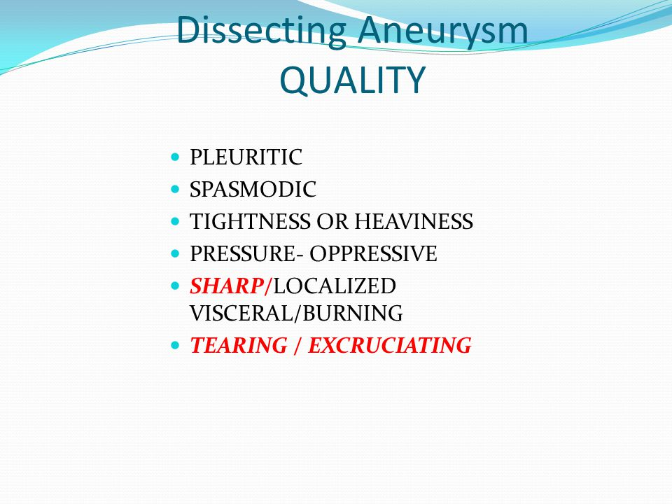 Dissecting Aneurysm QUALITY