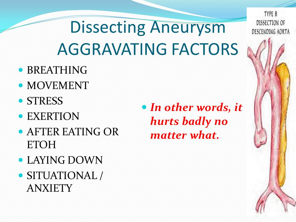 Dissecting Aneurysm AGGRAVATING FACTORS