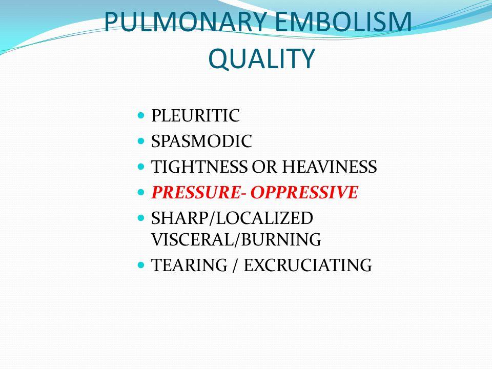 PULMONARY EMBOLISM QUALITY
