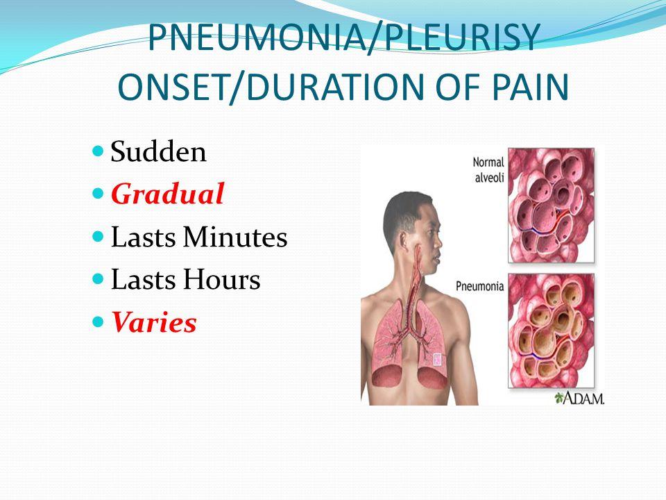 PNEUMONIA/PLEURISY ONSET/DURATION OF PAIN