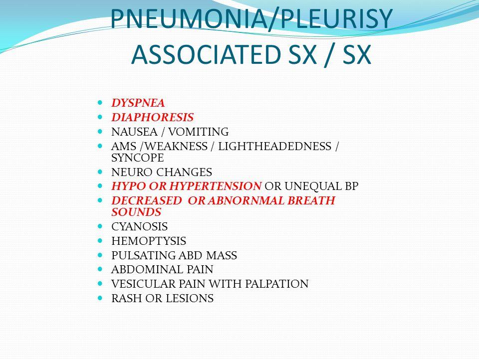 PNEUMONIA/PLEURISY ASSOCIATED SX / SX