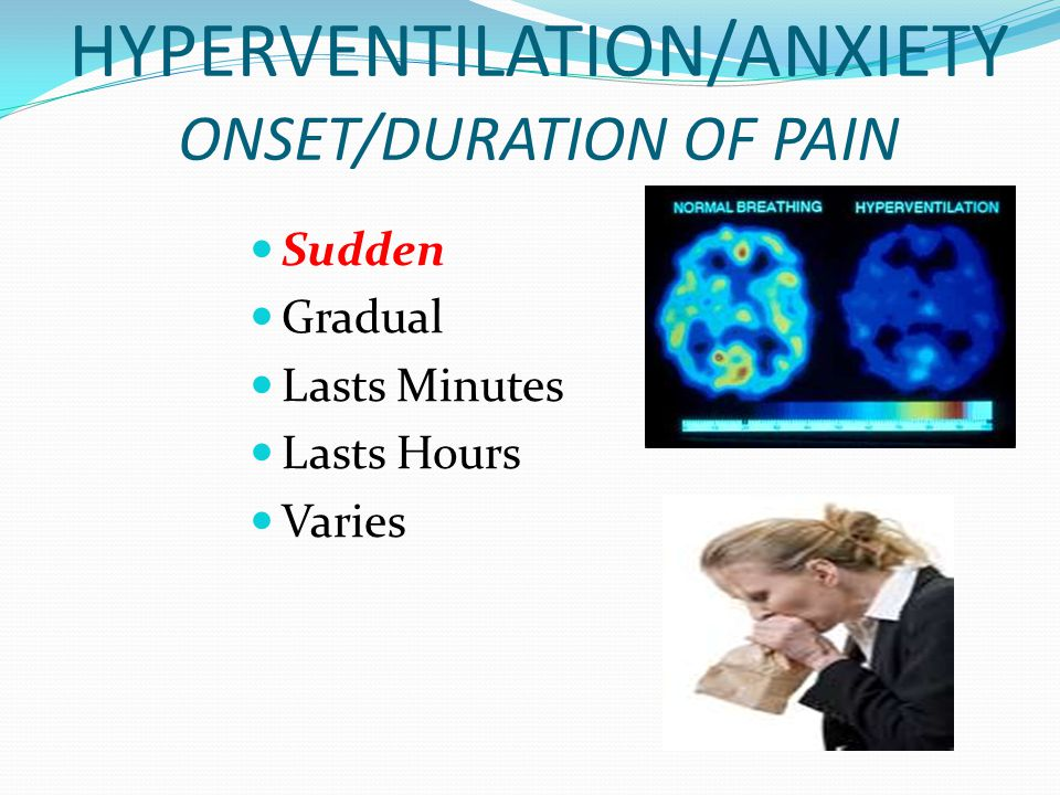 HYPERVENTILATION/ANXIETY ONSET/DURATION OF PAIN