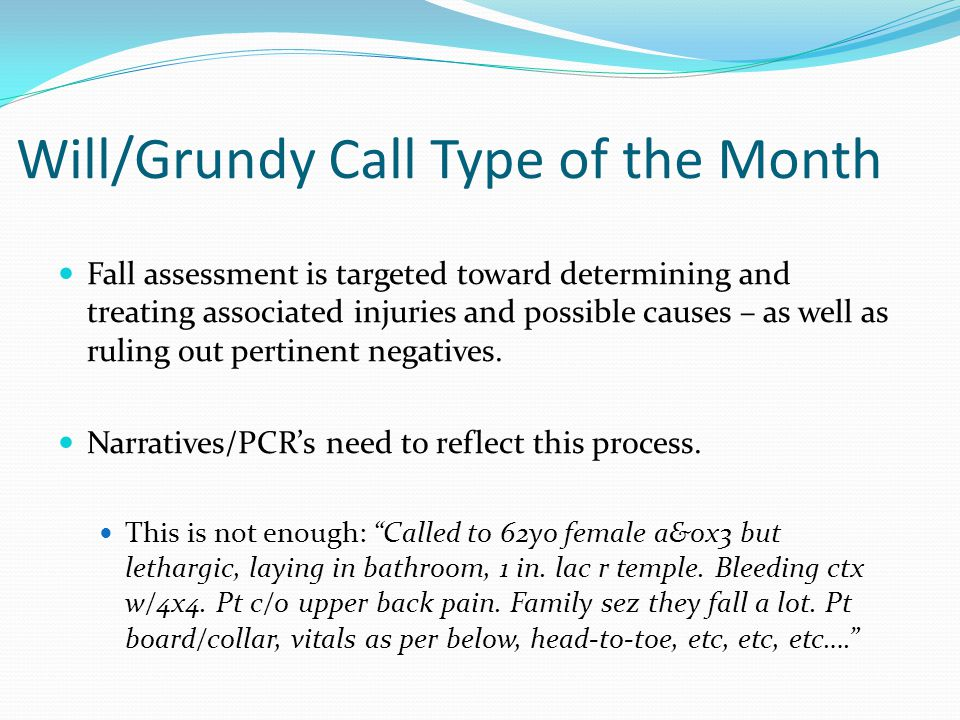 Will/Grundy Call Type of the Month
