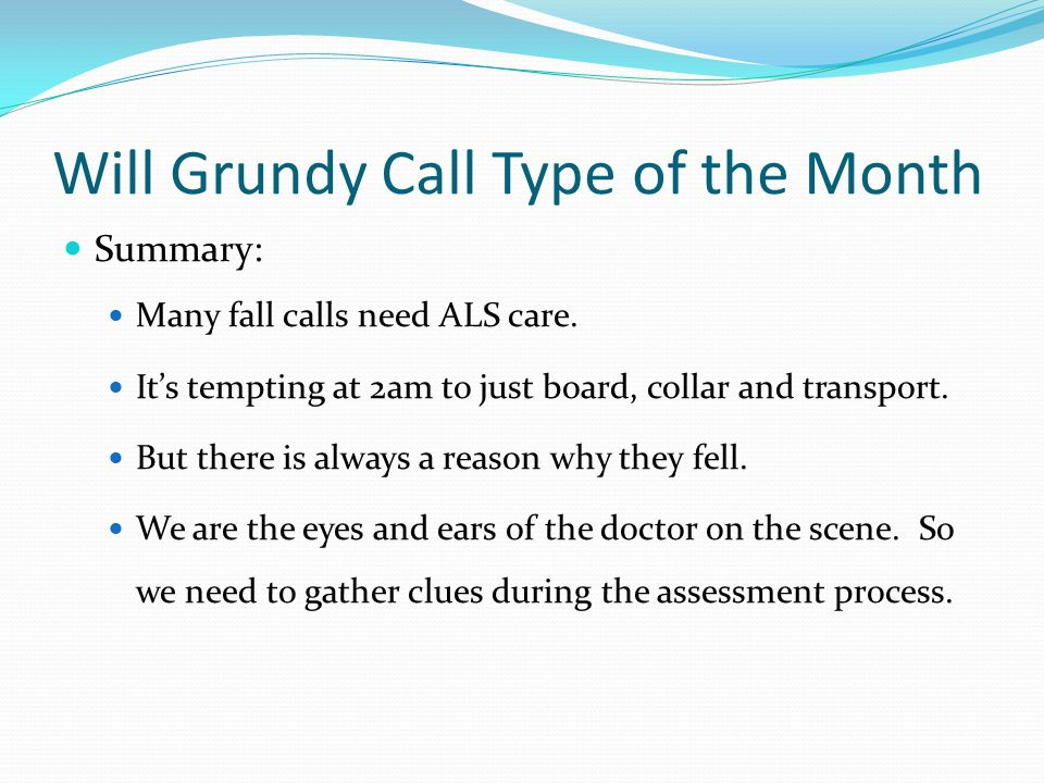 Will Grundy Call Type of the Month