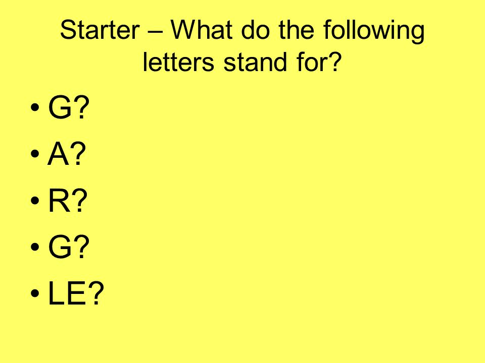 Starter – What do the following letters stand for