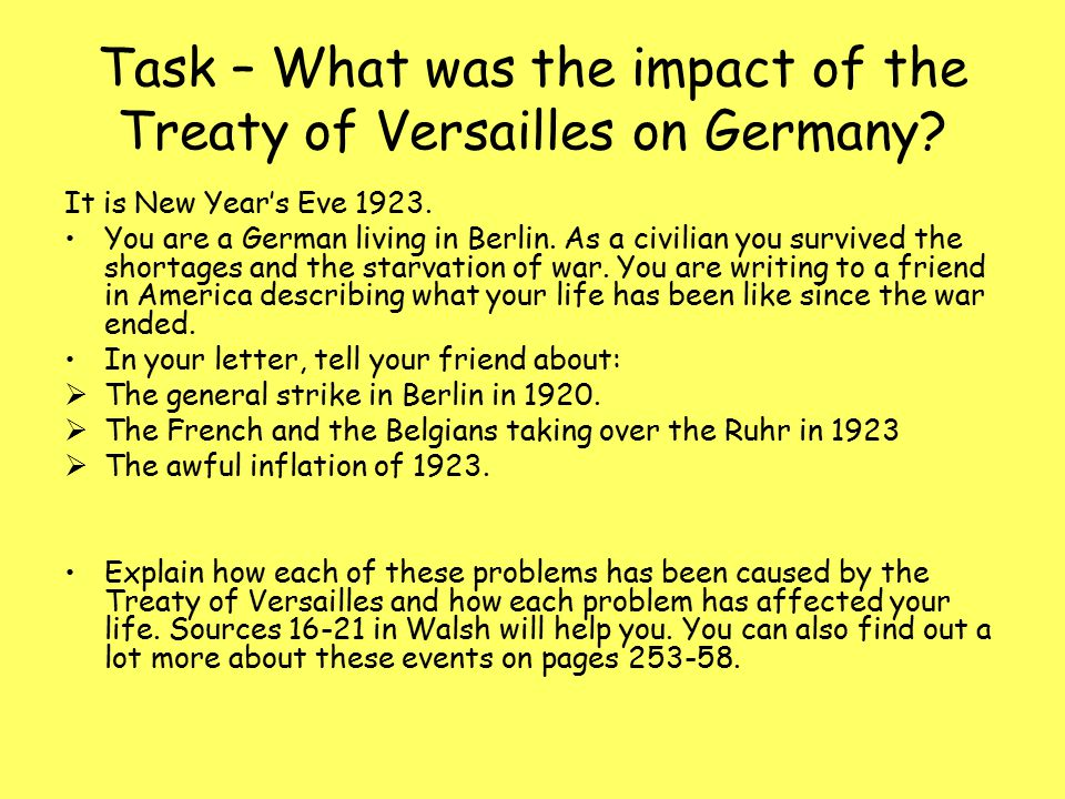an analysis of the treaty of versailles effect on germany