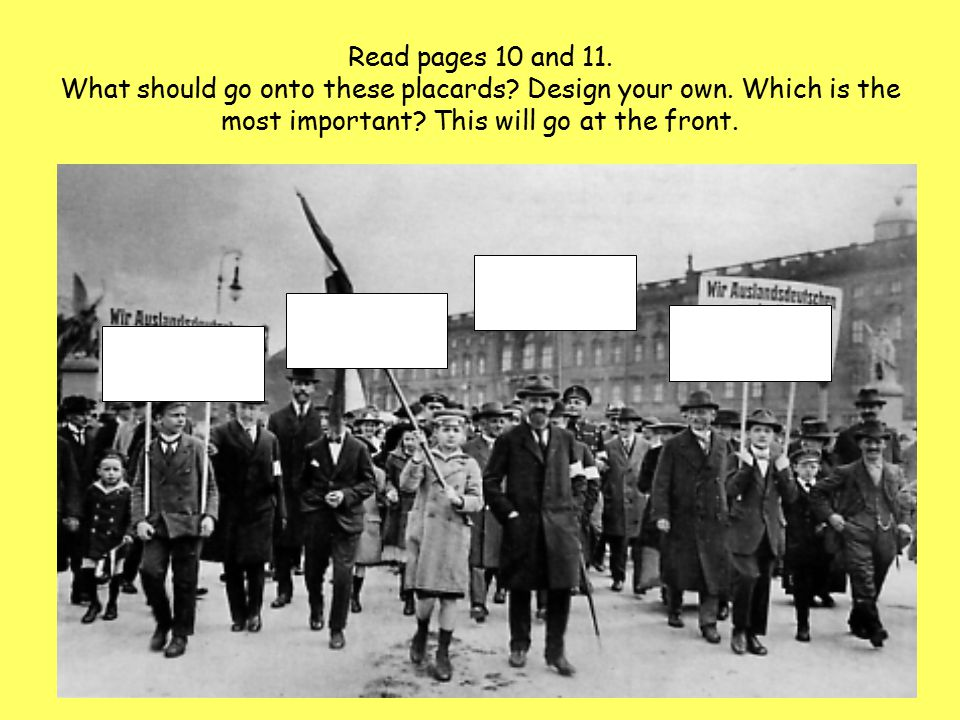 Read pages 10 and 11. What should go onto these placards