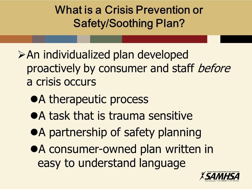 What is a Crisis Prevention or Safety/Soothing Plan