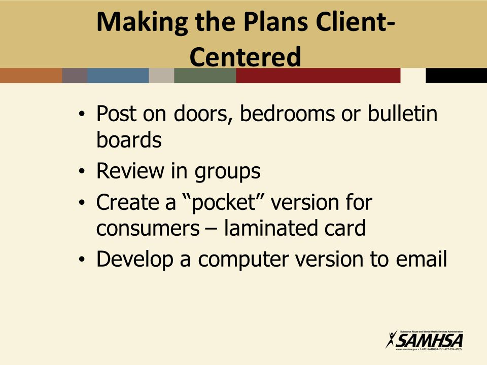Making the Plans Client-Centered