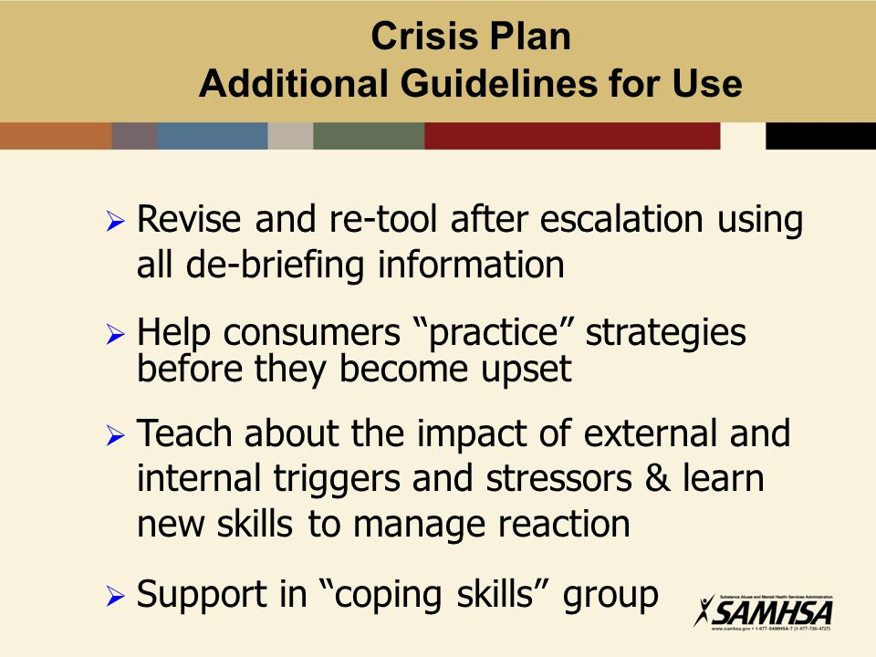 Crisis Plan Additional Guidelines for Use
