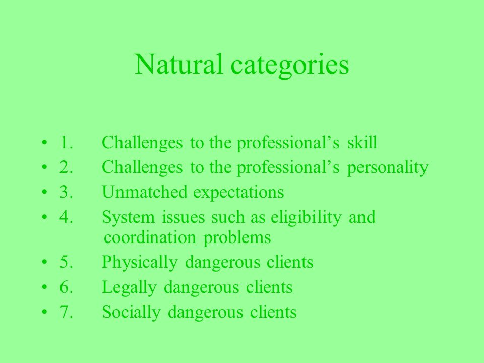 Natural categories 1. Challenges to the professional's skill