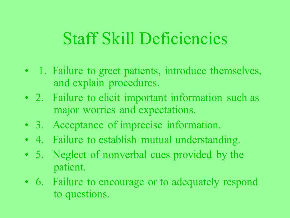 Staff Skill Deficiencies