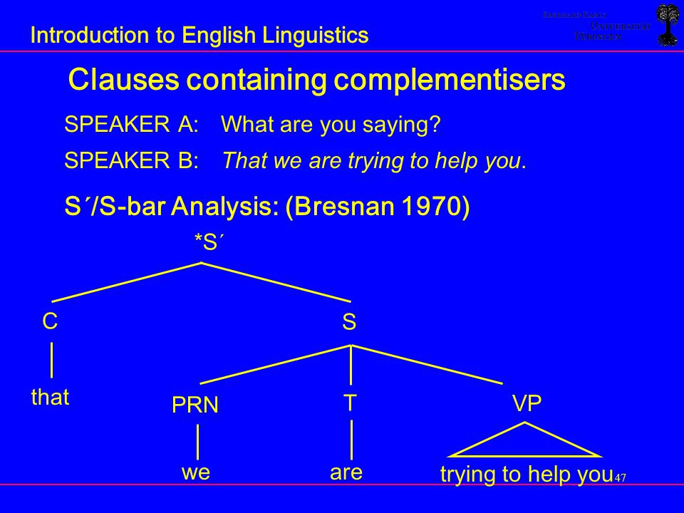 Clauses containing complementisers