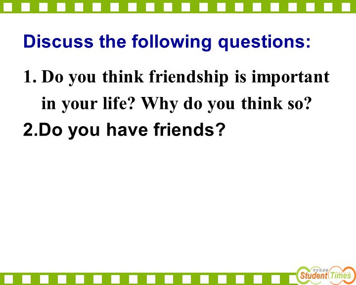 Discuss the following questions: