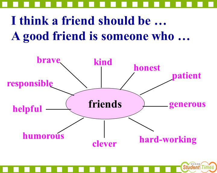 I think a friend should be … A good friend is someone who …