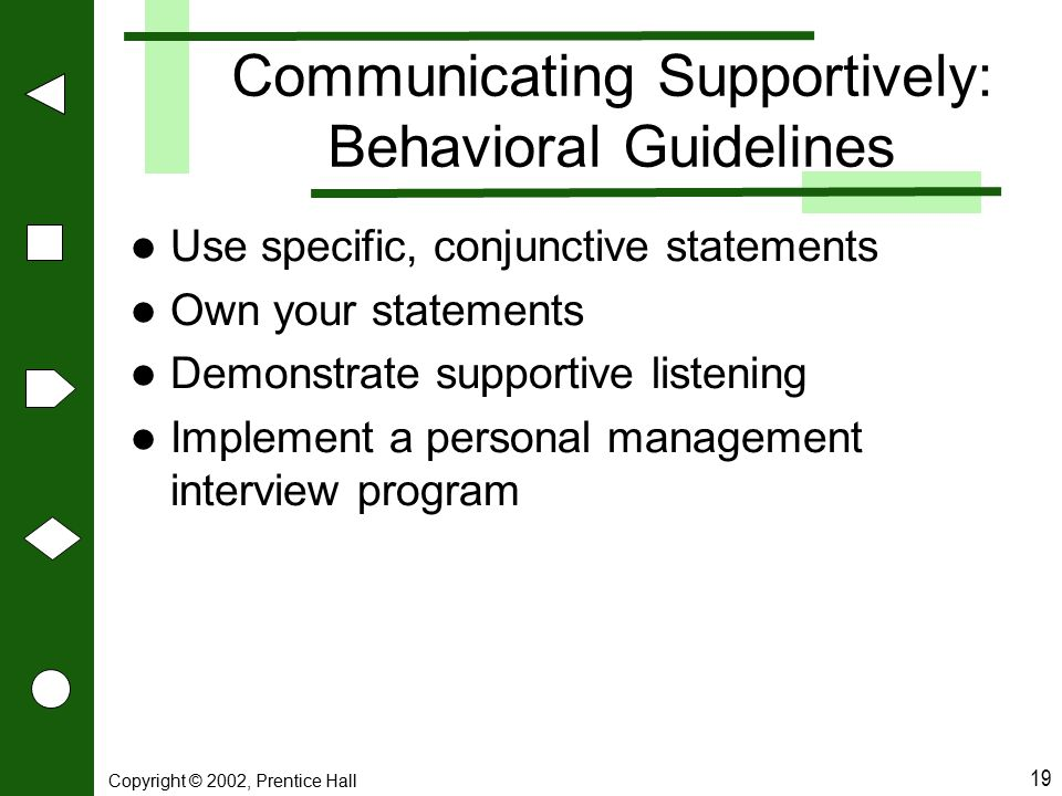 Communicating Supportively: Behavioral Guidelines