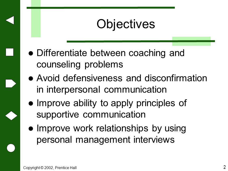 Objectives Differentiate between coaching and counseling problems