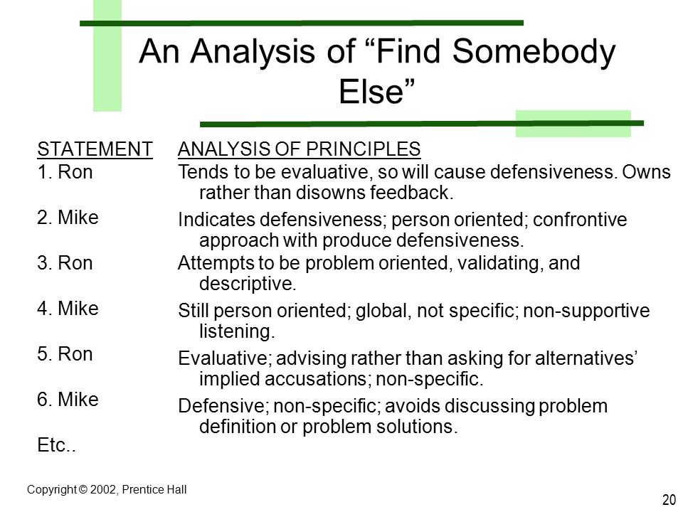 An Analysis of Find Somebody Else