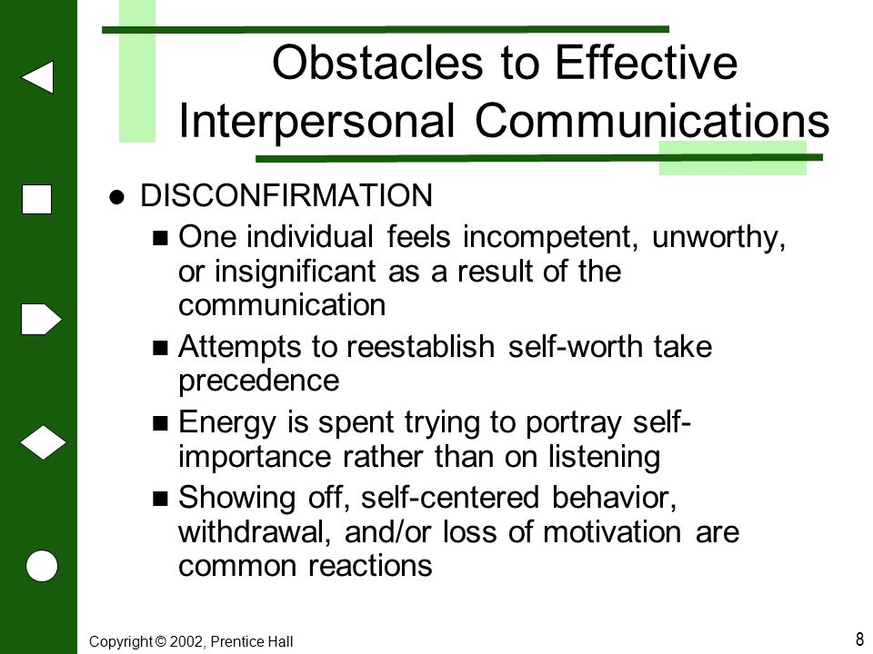 Obstacles to Effective Interpersonal Communications