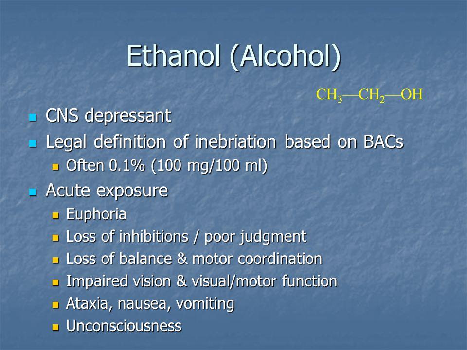 Ethanol (Alcohol) CNS depressant