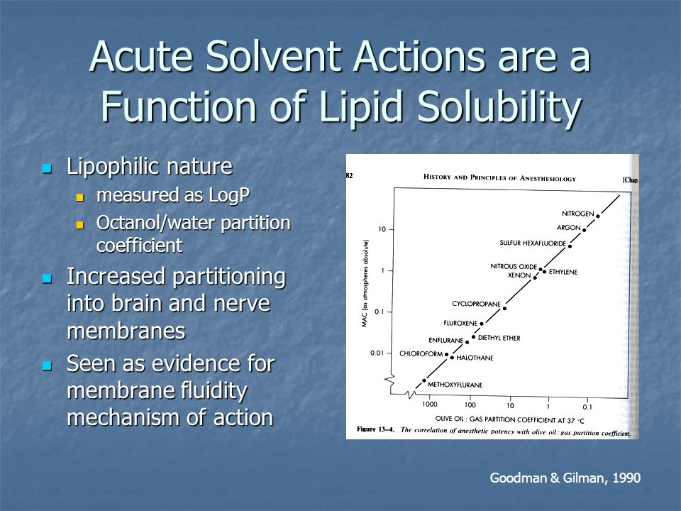 Acute Solvent Actions are a Function of Lipid Solubility