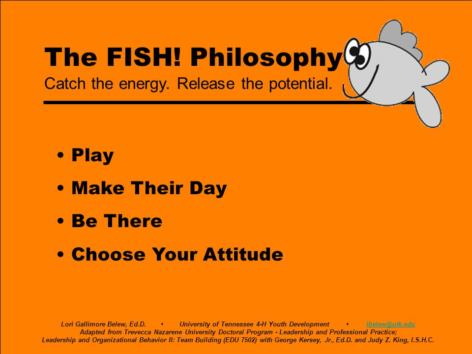 The FISH! Philosophy • Play • Make Their Day • Be There