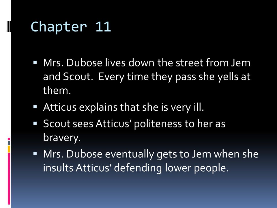 Chapter 11 Mrs. Dubose lives down the street from Jem and Scout. Every time they pass she yells at them.