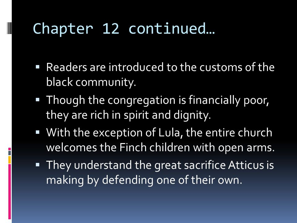 Chapter 12 continued… Readers are introduced to the customs of the black community.