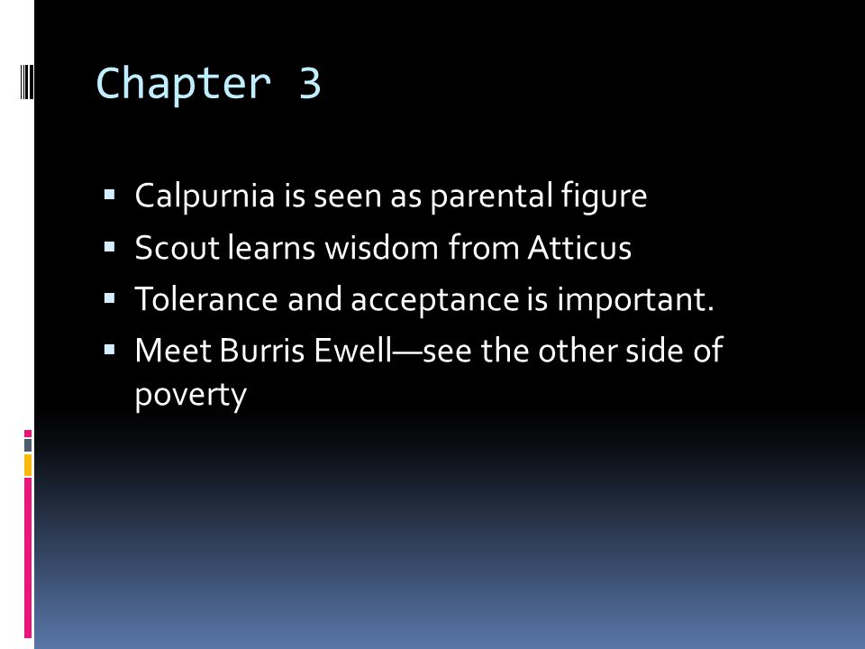 Chapter 3 Calpurnia is seen as parental figure