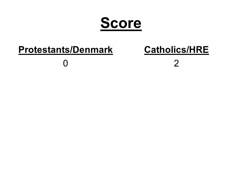 Score Protestants/Denmark Catholics/HRE 2
