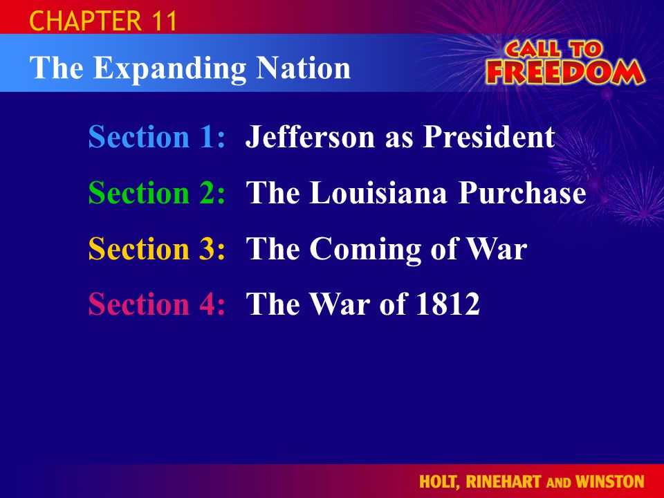 Section 1: Jefferson as President Section 2: The Louisiana Purchase