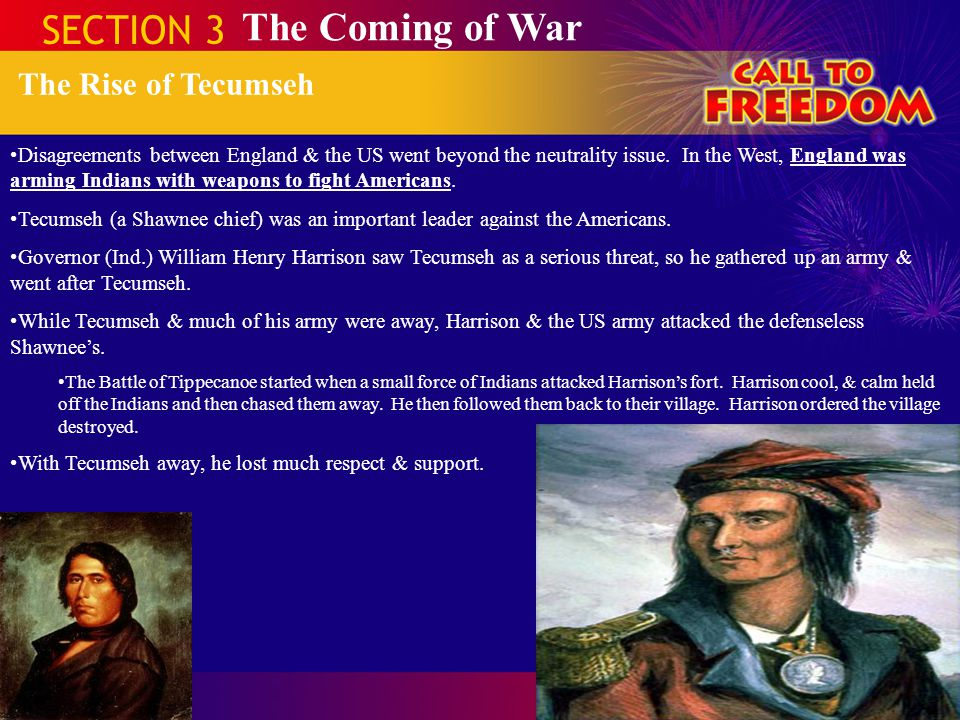 SECTION 3 The Coming of War The Rise of Tecumseh