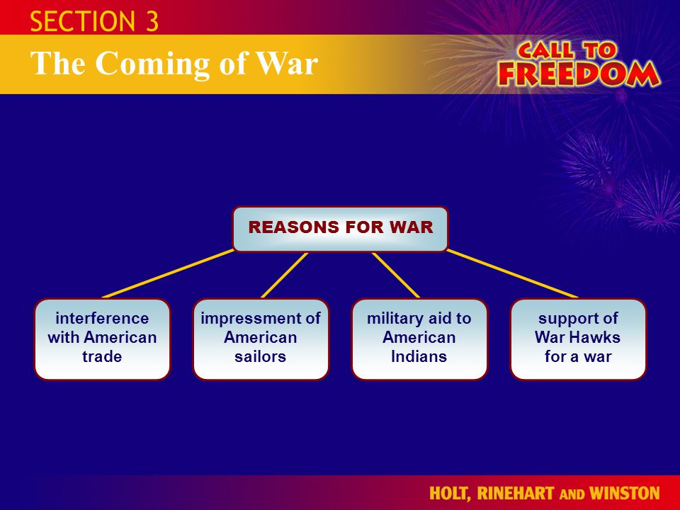 The Coming of War SECTION 3 REASONS FOR WAR