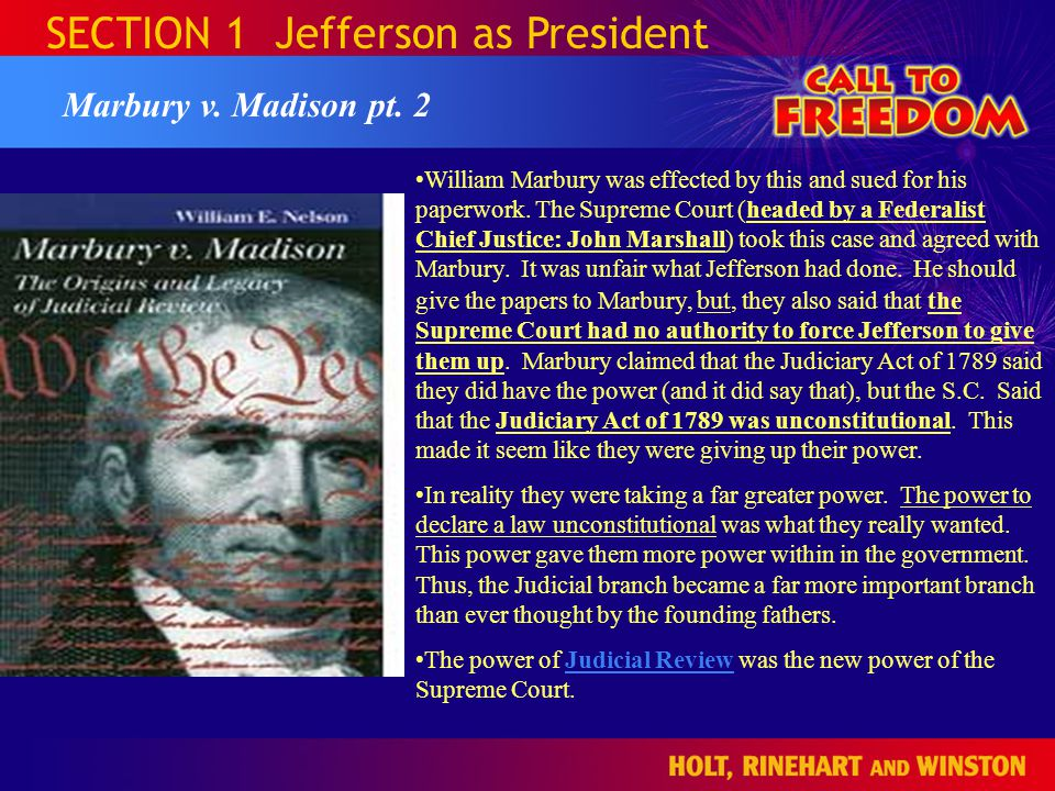 SECTION 1 Jefferson as President