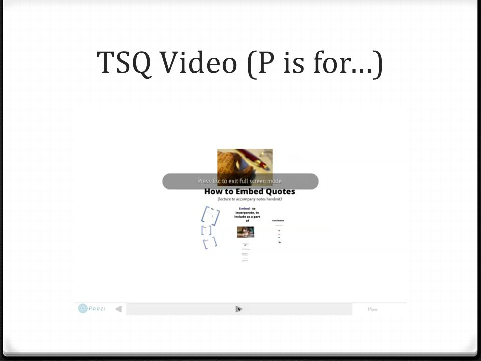 TSQ Video (P is for…)