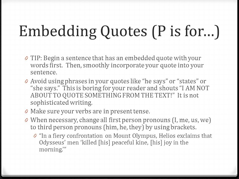 Embedding Quotes (P is for…)
