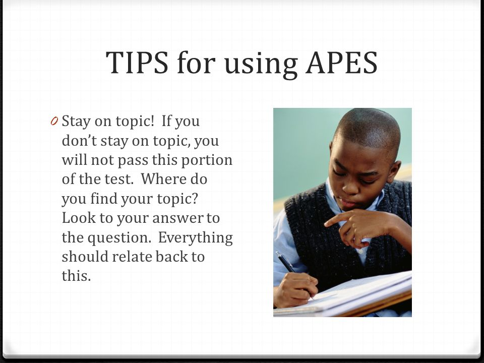 TIPS for using APES