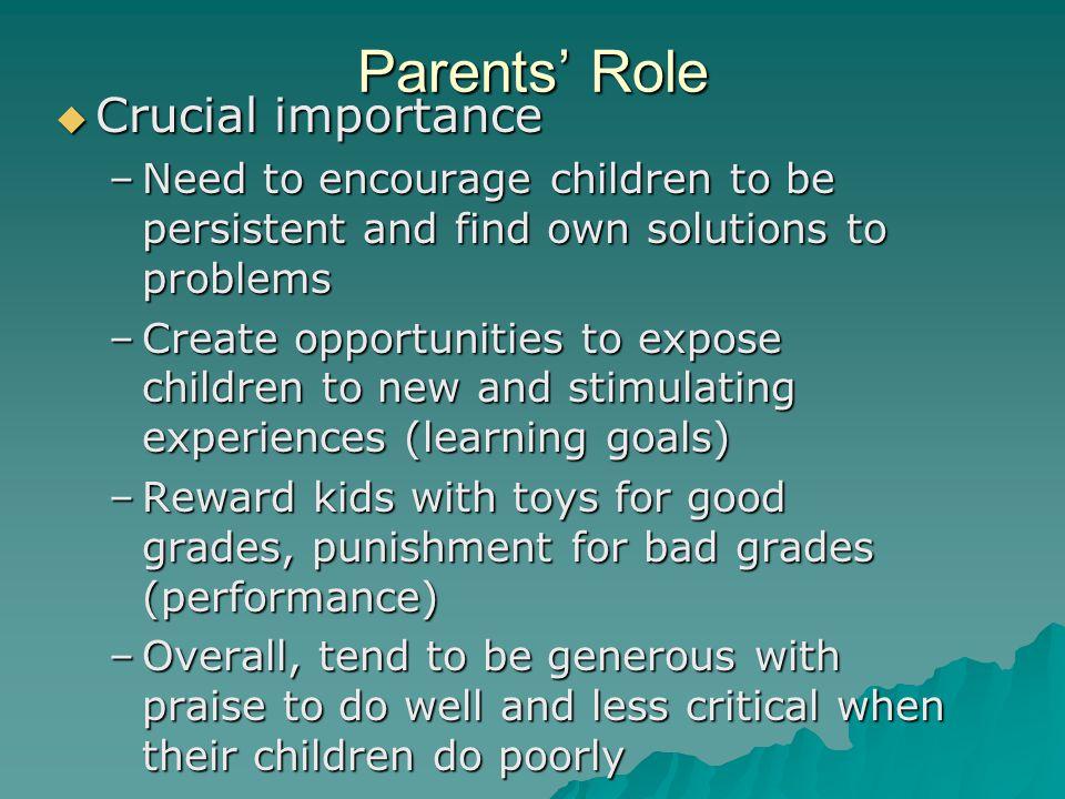 Parents' Role Crucial importance