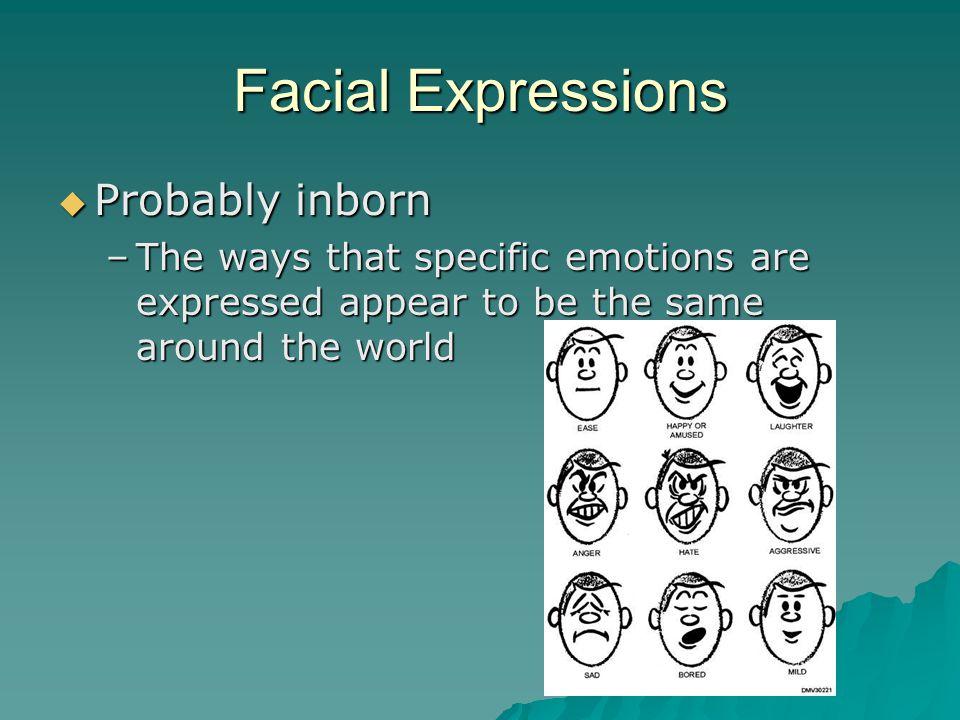Facial Expressions Probably inborn