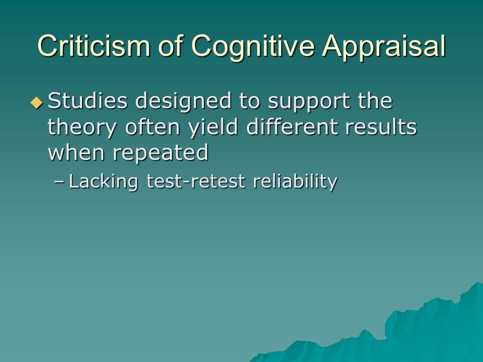 Criticism of Cognitive Appraisal