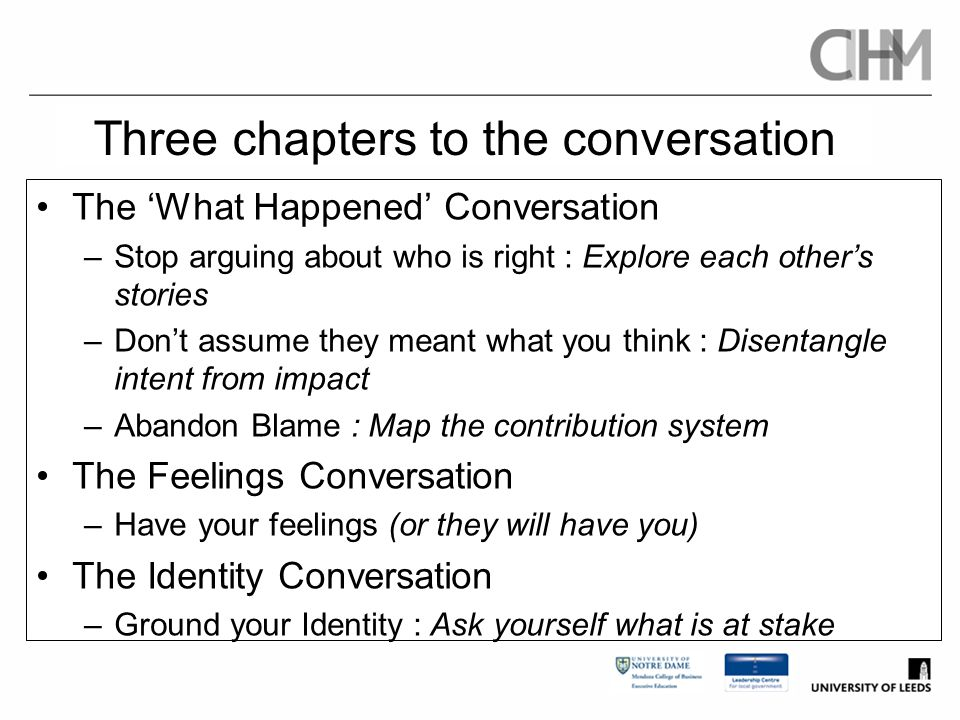 Three chapters to the conversation