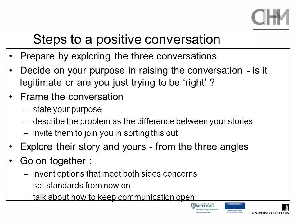 Steps to a positive conversation