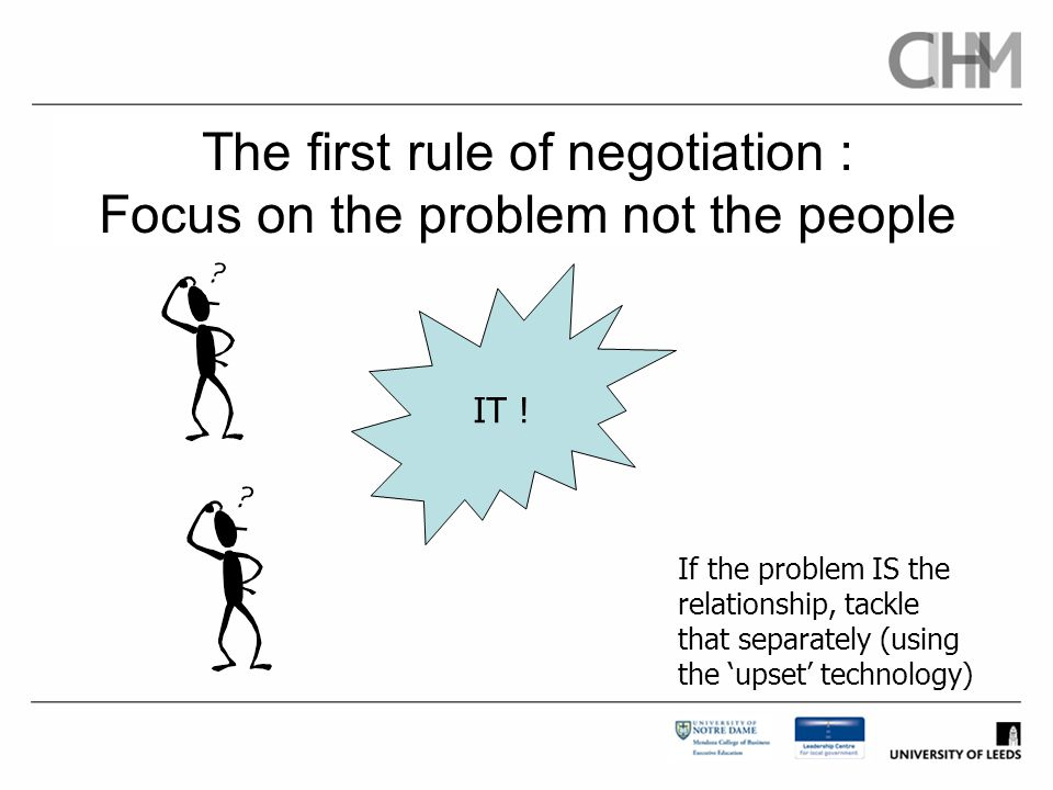 The first rule of negotiation : Focus on the problem not the people
