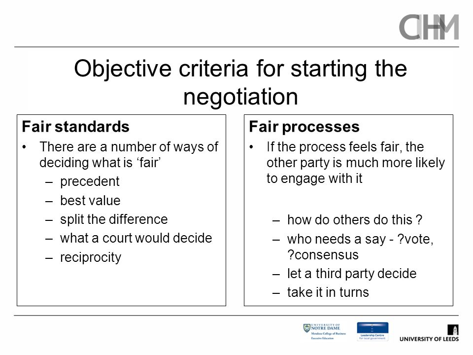 Objective criteria for starting the negotiation